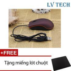 Chuột quang có dây LVTech Mini M20 (Tím) + Tặng 1 tấm lót chuột