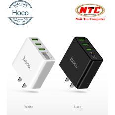 Cốc sạc 3 cổng Hoco C15 3A – màn hình LCD hiển thị điện áp (Đen) – Hãng phân phối chính thức