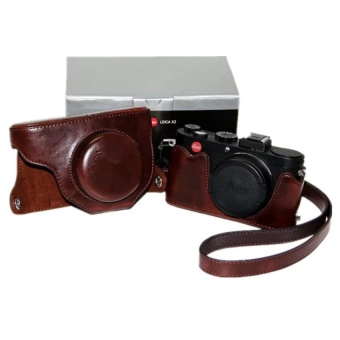 Coffee PU Leather Camera Case Bag Cover for Leica X2 with Strap - intl