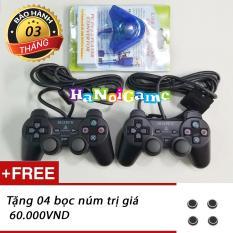 Combo 02 tay cầm PS2 và bộ chuyển chơi trên PC (Đen)