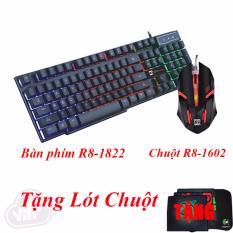 Combo Bàn Phím R8 1822 LED và Chuột R8 1602 LED Tặng Lót Chuột