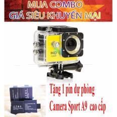 Combo Camera hành trình chuyên phượt 1080p (màu vàng) tặng kèm pin sạc dự phòng