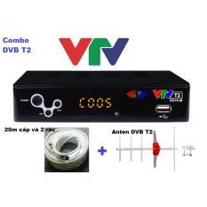 Combo Đầu thu DVB T2 16M của VTV + Anten + 20m cáp đồng trục