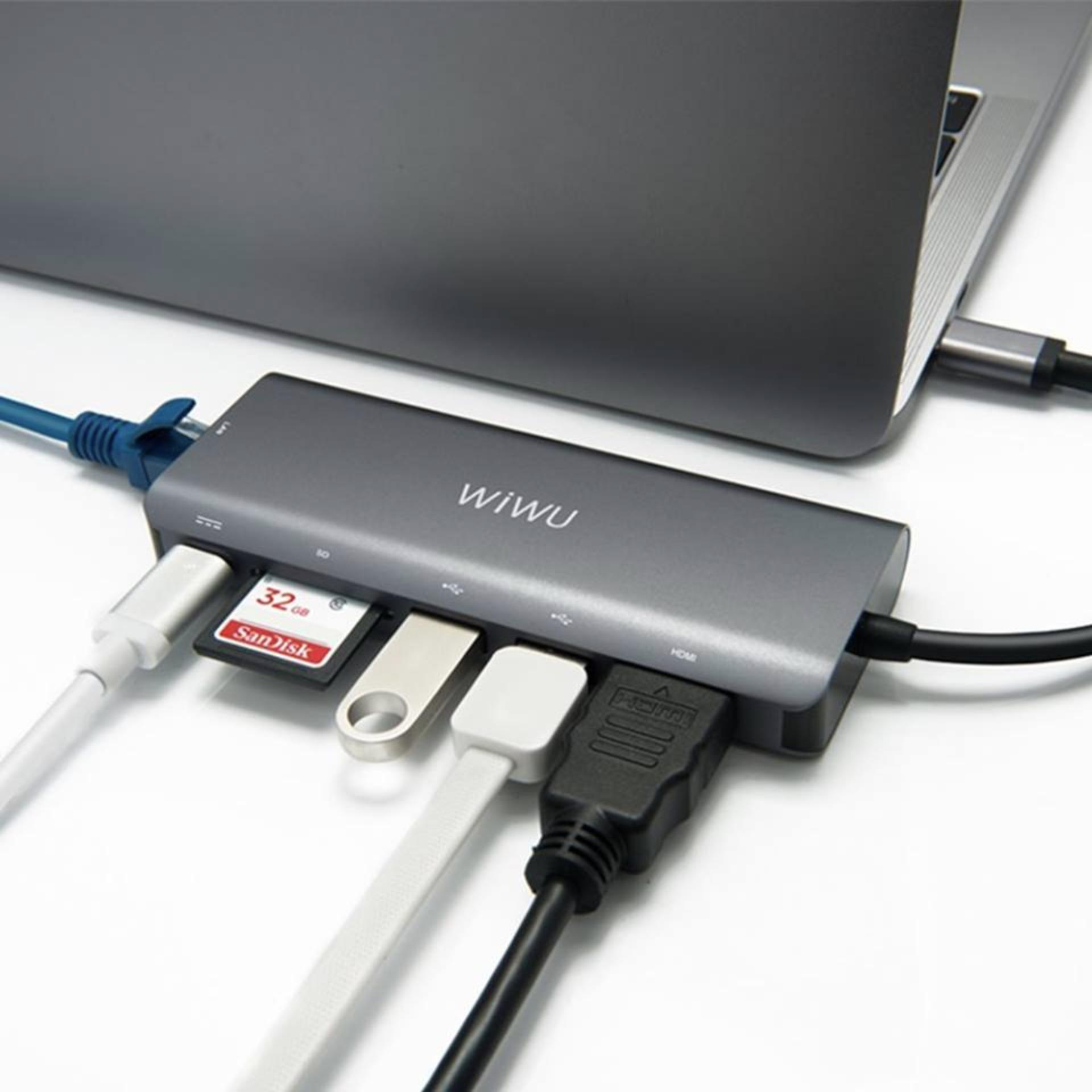 Cổng chia USB-C cho MacBook / Laptop hiệu WIWU 6 trong 1 (xám)