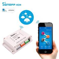 Công tắc 4 kênh điều khiển bật tắt và hẹn giờ thiết bị qua Ứng Dụng điện thoại 3G Wifi SONOFF 4CH