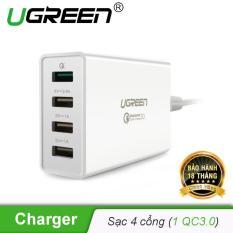 Cốc sạc 4 cổng tích hợp 1 cổng sạc nhanh QC3.0 + 3 cổng sạc USB (1 cổng 2.4A/2cổng 1A) UGREEN 30926 – Hãng phân phối chính thức
