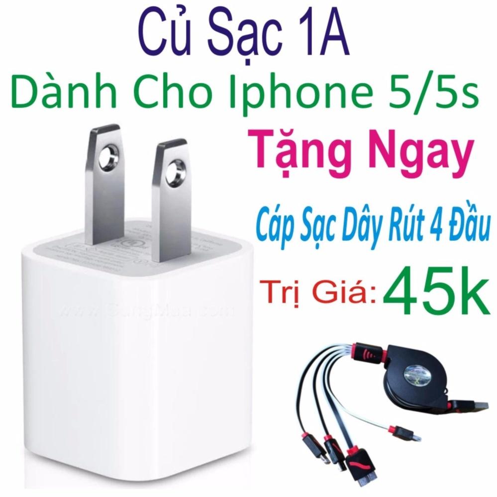Củ sạc Dành cho iPhone 5/5s – Hàng nhập khẩu + Tặng Ngay Cáp Sạc Dây Rút 4 Đầu Trị Giá 45k