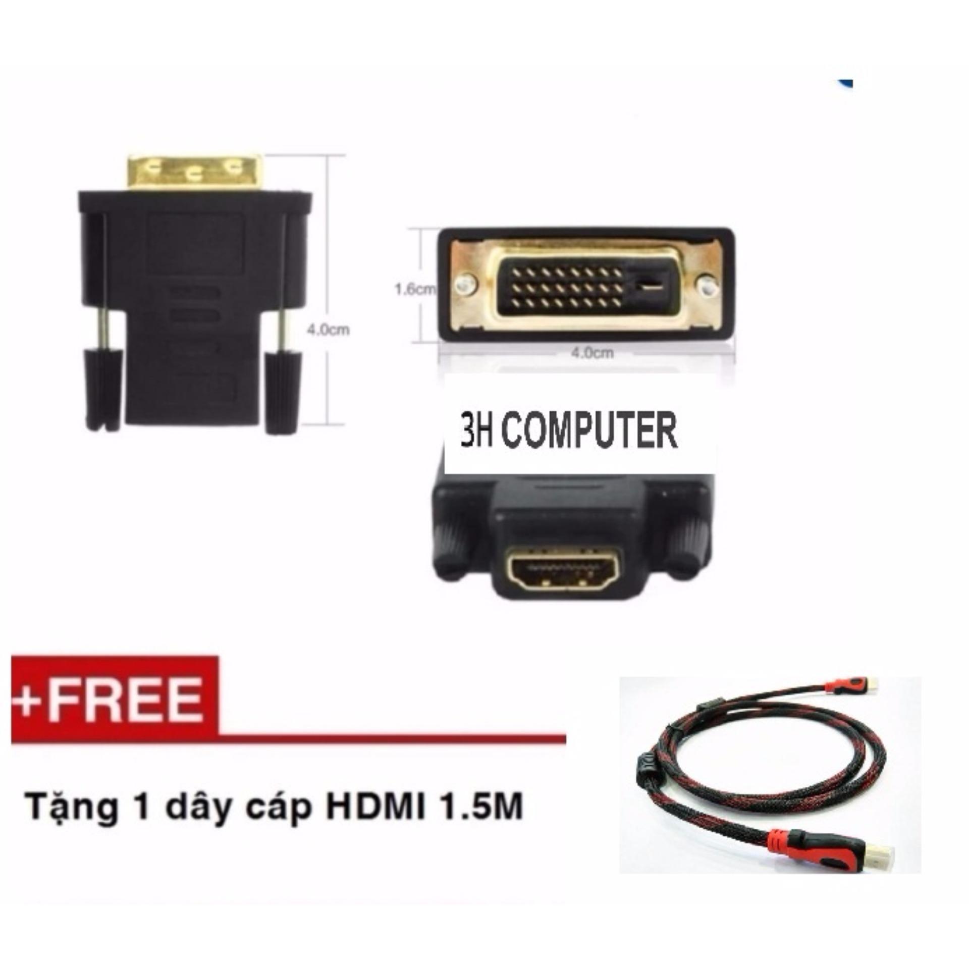 Đầu chuyển DVI (24+1) sang HDMI + Tặng kèm cáp HDMI 1.5M BỌC LƯỚI