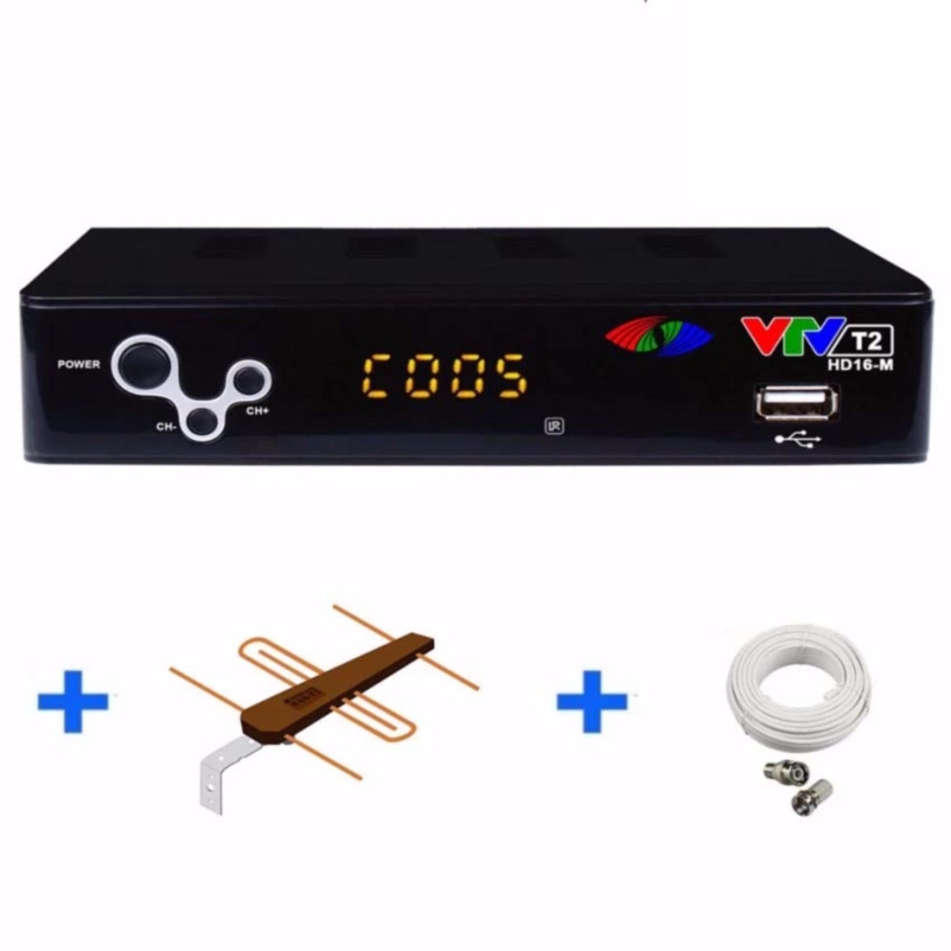 Đầu thu DVB T2 16M của VTV (đen) + Dây HDMI + An-ten + 10m cáp đồng trục