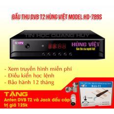 Đầu thu DVB T2 Hùng Việt HD 789s tặng anten khuếch đại và jack nối