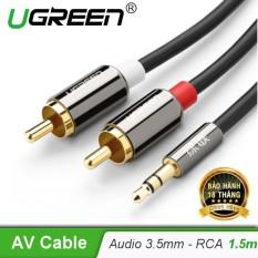 Dây Audio 3,5mm ra 2 đầu RCA (Hoa sen) dài 1,5M UGREEN AV116 – 10583 (đen)