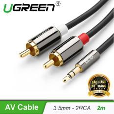 Dây Audio 3,5mm ra 2 đầu RCA (Hoa sen) dài 2M UGREEN AV116 – 10584 – Hãng phân phối chính thức
