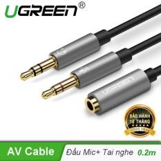 Dây Audio chuyển tai nghe 3.5mm đầu cái sang 2 đầu Mic và Tai nghe đầu đực mạ vàng dài 20CM UGREEN AV140 20899 – Hãng phân phối chính thức