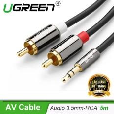 Dây cáp Audio 3,5mm ra 2 đầu RCA (Hoa sen) dài 5M UGREEN AV116 10591 – Hãng phân phối chính thức