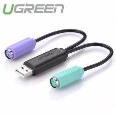 Dây cáp chuyển đổi USB sang PS/2 (chuột + bàn phím) dài 10cm UGREEN 20219 (Đen)