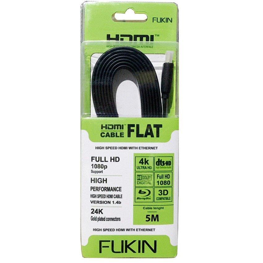 Hình ảnh Dây cáp HDMI v1.4 Full HD 1080p 3D 4K FLAT FUKIN dài 5m (Đen)