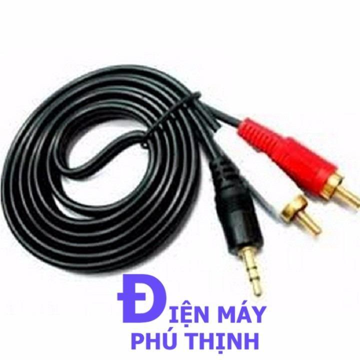 Dây cáp loa 3.5mm ra 2 bông sen dài 3m kết nối tivi wifi với amply hoặc loa kéo