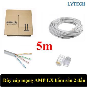Dây cáp mạng AMPLX bấm sẵn 2 đầu 5m (Trắng)