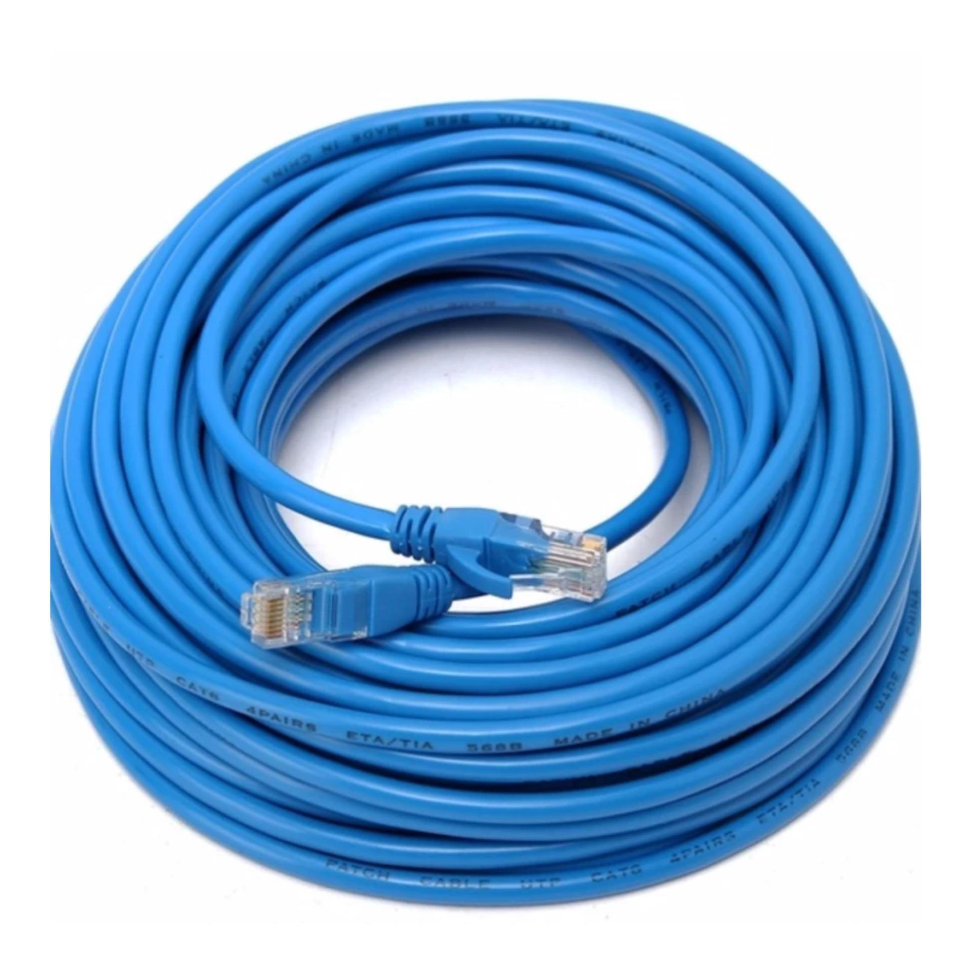 Dây cáp mạng CAT5E UTP bấm sẵn 2 đầu 35 Mét (Trắng, xanh – Mới 100%)