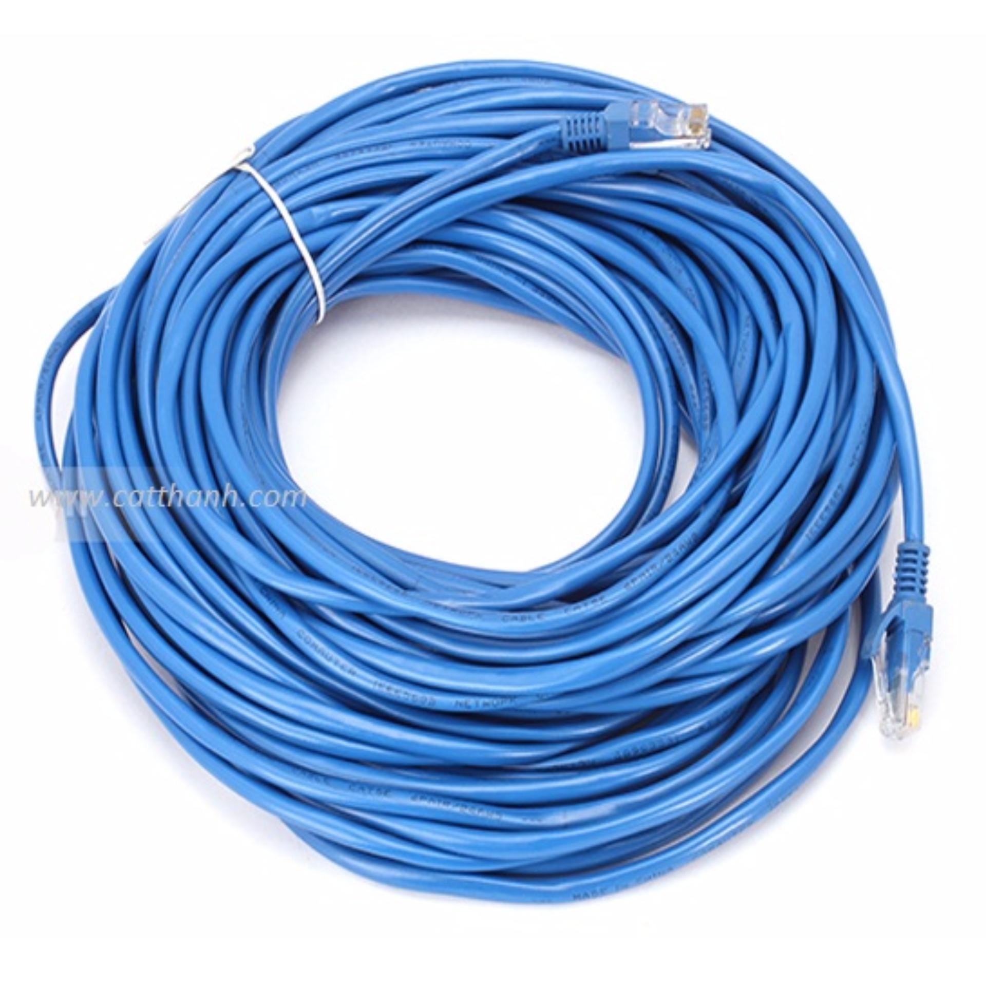 Dây cáp mạng CAT6E LBlink bấm sẵn 2 đầu 40 Mét (Trắng, xanh – Mới 100%)
