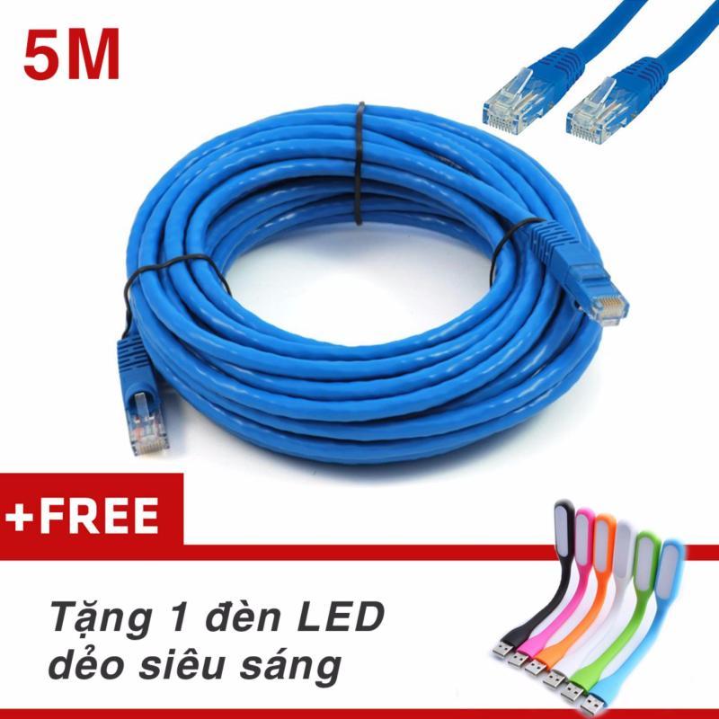 Bảng giá Dây Cáp mạng internet/ Mạng LAN K&H 2 đầu đúc sẵn 5M loại tốt + Tặng đèn Led Phong Vũ