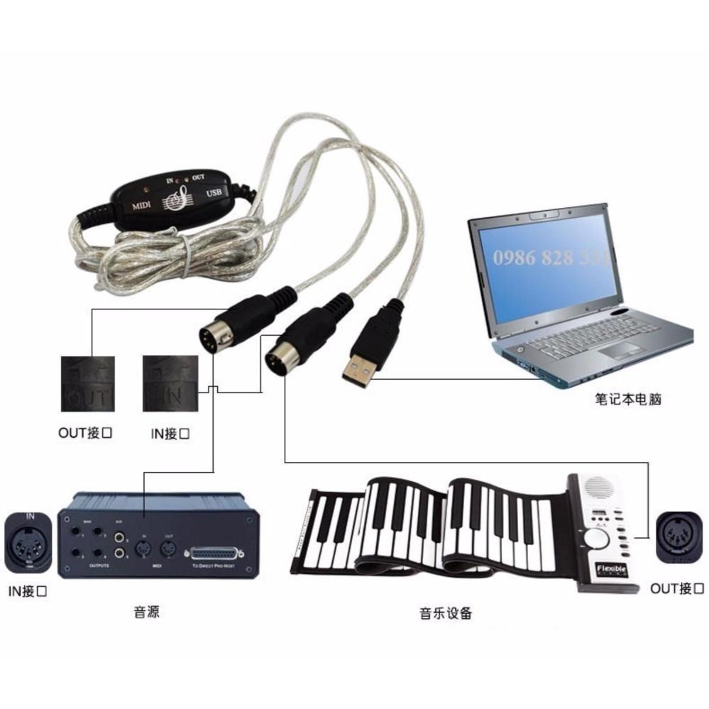 Dây cáp Midi to USB Cable cho Organ (kết nối truyền tín hiệu, âm thanh MIDI sang USB)