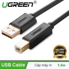 Dây máy in mạ vàng USB 2.0 chuẩn A đực sang chuẩn B đực dài 1.5M UGREEN US135 10350 (đen)
