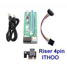 Dây Riser PCIe 1X TO 16X USB 3.0 loại nguồn 4pin (đời đầu)
