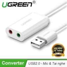 Dây USB 2.0 mở rộng sang đồng thời 2 cổng 3.5mm cho tai nghe + mic, không cần driver UGREEN US205 – Hãng phân phối chính thức