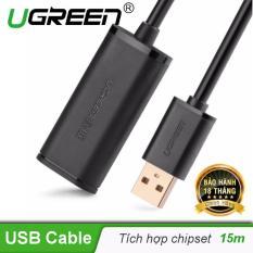 Dây USB 2.0 nối dài dài 15M Active có CHIP UGREEN US121 10323 (màu đen)