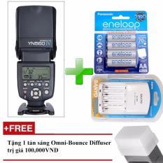 Đèn Flash Yongnuo YN-560 IV cho máy ảnh Canon, Nikon, Sony – Kèm 4 Pin Eneloop và 1 Sạc Sanyo – Tặng tản sáng Omni bouce