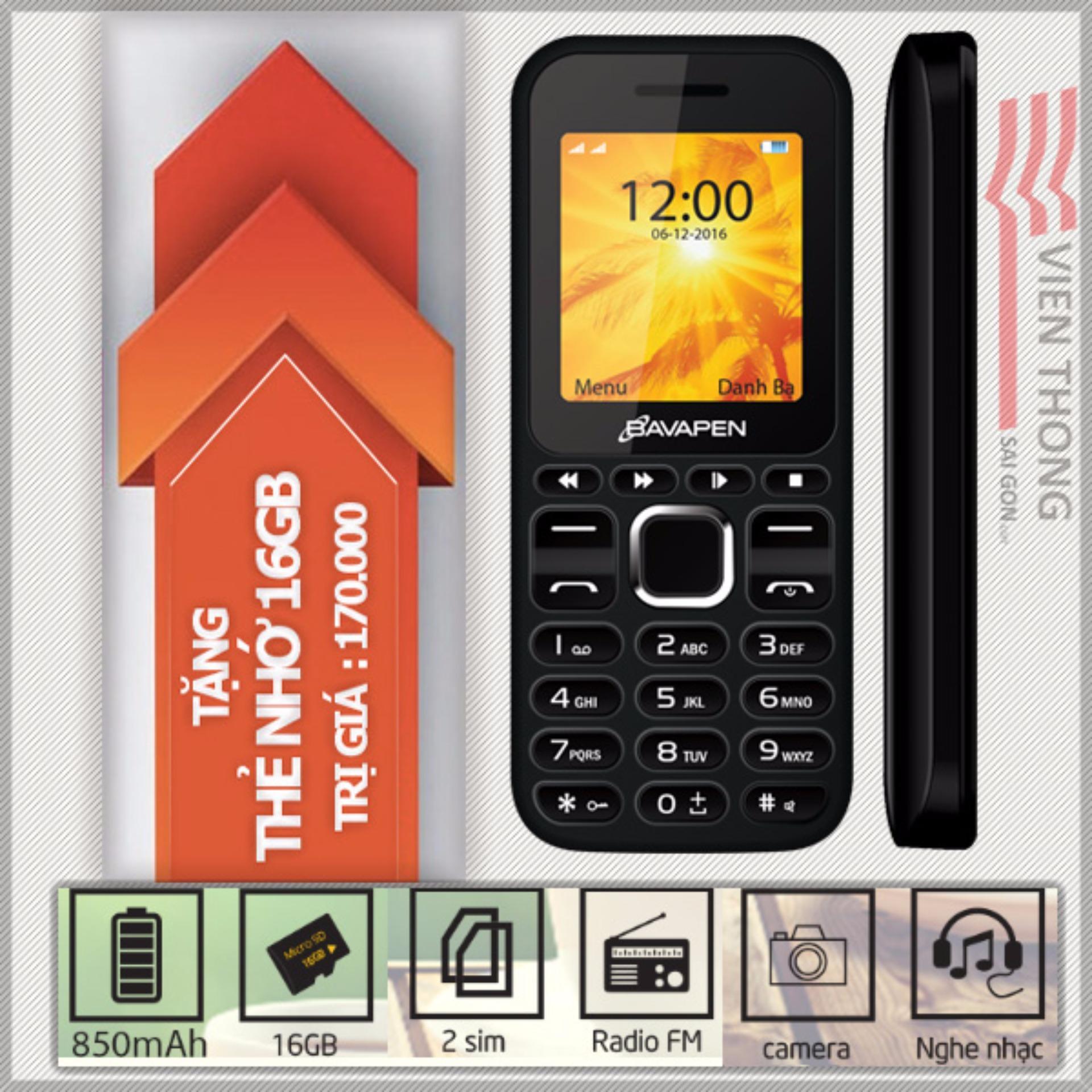 Ở đâu bán Điện thoại 2 sim 2 sóng Bavapen B11 (Đen)+ Tặng 1 thẻ nhớ 16gb