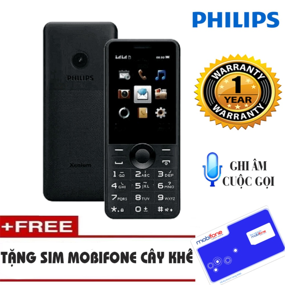 Điện thoại Philips E168 Đen Không Kèm Thẻ Nhớ – Tặng Sim Mobifone cây khế