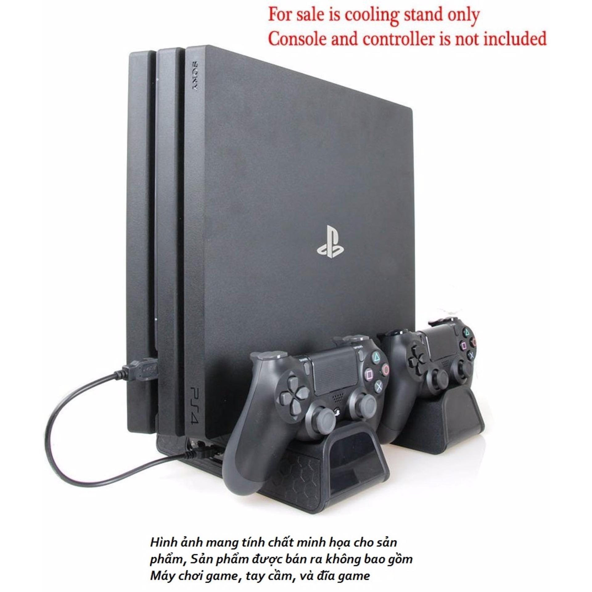 Dock sạc cho 2 tay cầm PS4 + Kệ giá để đĩa game + Chân đế Quạt tản nhiệt cho PS4 PRO / Slim / PS4