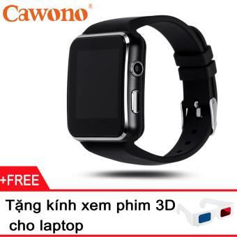 Đồng hồ thông minh Cawono X6 Màn hình Cong (Đen) + Tặng 1 kính giấy xem phim 3D