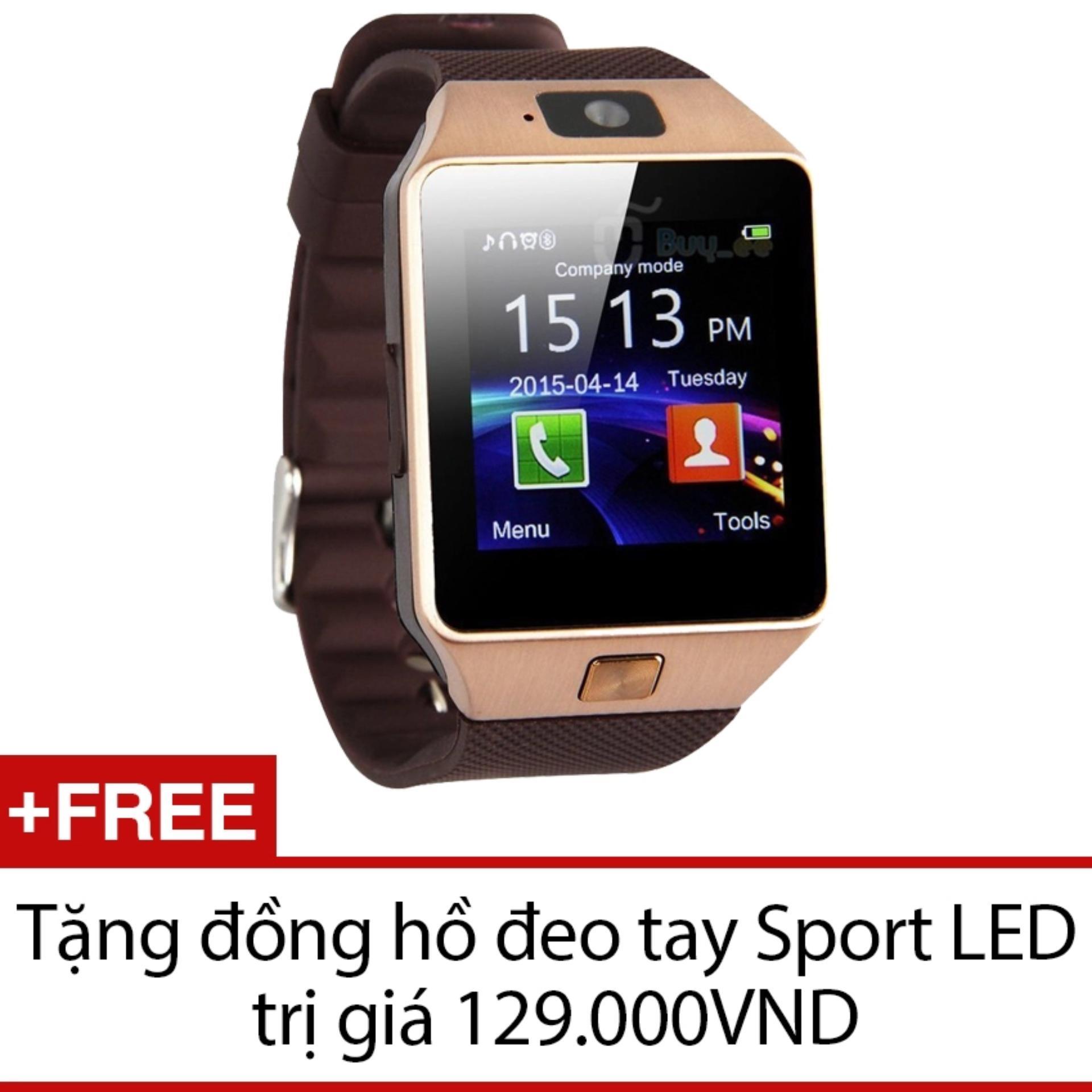 Đồng hồ thông minh Smart Watch Uwatch DZ09 (Vàng) + Tặng 1 đồng hồ đeo tay Sport LED
