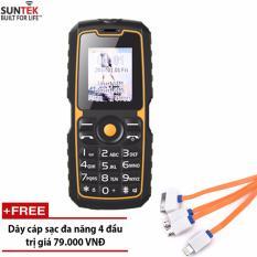 Giá Tốt ĐTDĐ SUNTEK X3 Plus 2 SIM chống nước kiêm pin sạc dự phòng (Cam đen) + Tặng cáp sạc đa năng Tại Suntek (Hà Nội)