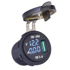 Bảng Giá Eastor Waterproof QC 3.0 USB Charger Socket Power Outlet w/ Digital Voltmeter Ammeter Monitoring for Car Boat RV – Blue Light – intl Tại Extreme Deals