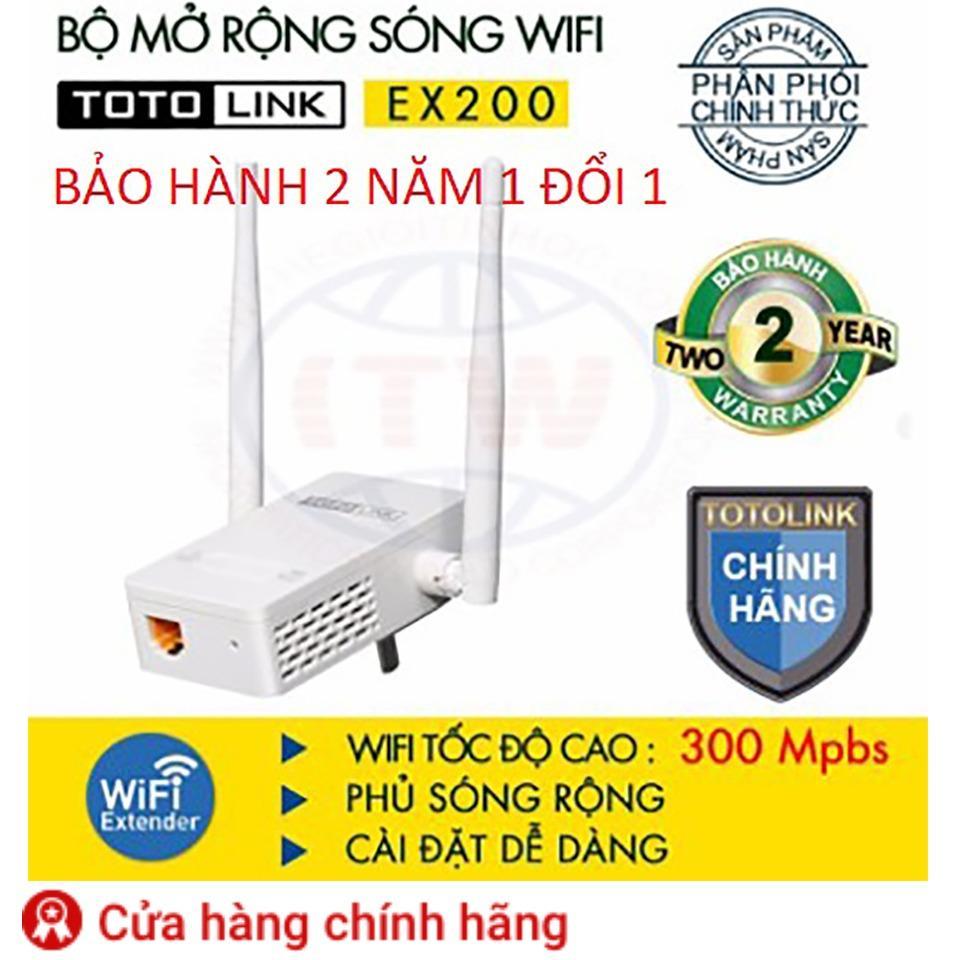 EX200 – Thiêt bị mở rộng sóng WIFI chuẩn N 300Mbps – Hãng TOTO Link bảo hành 2 năm 1 đổi 1