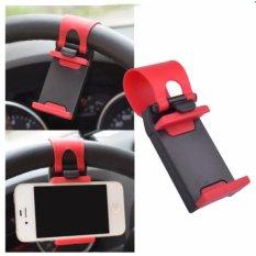 Giá đỡ điện thoại trên ôtô gắn ở vô lăng xe giá rẻ (Đen phối đỏ)