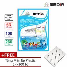 Giấy In Ảnh Cao Cấp Media RC 1 Mặt Siêu Bóng (High Glossy) 5R (13 x 18cm) 260gsm 100 Tờ + Tặng Màn Ép Plastic 100 Tờ