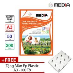 Giấy In Ảnh Media 1 Mặt Bóng (Glossy) A3 (29.7 x 42cm) 200gsm 50 tờ + Tặng Màn Ép Plastic 100 Tờ