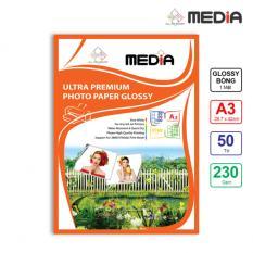 Giấy In Ảnh Media 1 Mặt Bóng (Glossy) A3 (29.7 x 42cm) 230gsm 50 Tờ