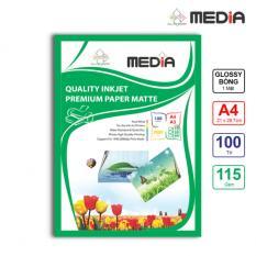 Giấy In Ảnh Media 1 Mặt Bóng (Glossy) A4 (21 x 29.7cm) 115gsm 100 Tờ