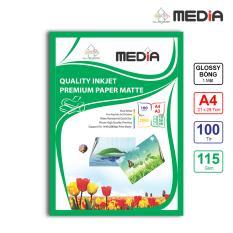 Giá bán Giấy In Ảnh Media 1 Mặt Bóng (Glossy) A4 (21 x 29.7cm) 115gsm 100 tờ – Hàng Nhập Khẩu