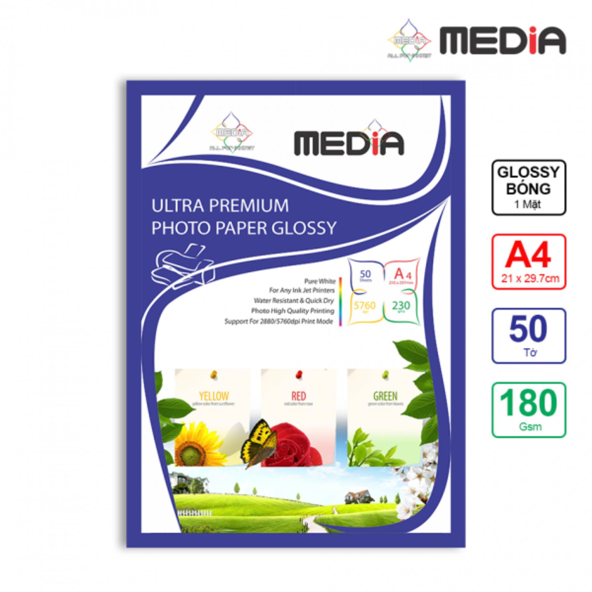 Giấy In Ảnh Media 1 Mặt Bóng (Glossy) A4 (21 x 29.7cm) 180gsm 50 Tờ