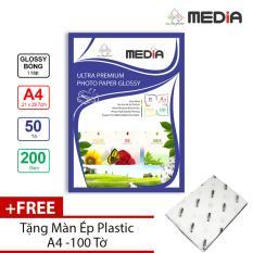 Giấy In Ảnh Media 1 Mặt Bóng (Glossy) A4 (21 x 29.7cm) 200gsm 50 tờ + Tặng Màn Ép Plastic 100 Tờ