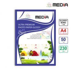 Giấy In Ảnh Media 1 Mặt Bóng (Glossy) A4 (21 x 29.7cm) 230gsm 50 Tờ