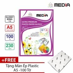 Giấy In Ảnh Media 1 Mặt Bóng (Glossy) A5 (14.8 x 21cm) 230gsm 100 Tờ + Màn Ép Plastic 100 Tờ