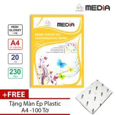 Giấy In Ảnh Media 1 Mặt Siêu Bóng (High Glossy) A4 (21 x 29.7cm) 230gsm 20 Tờ + Tặng Màn Ép Plastic 100 Tờ